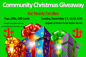 community giveaway for needy familiesjesus temple