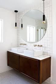 bathroom round mirror home progress bathroom update round mirrors credenza and vanities