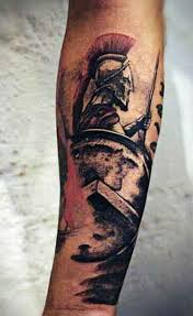 colored forearm tattoo of vintage style spartan warrior