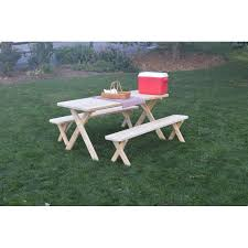 Wooden Picnic Tables With Separate Benches Pressure Treated Pine Picnic Table