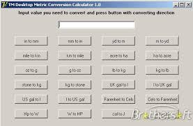 Metric Conversion Dimensions Info