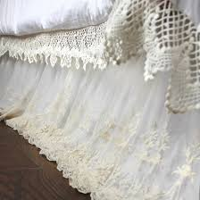 white lace lace bed skirt