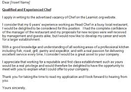 chef assistant cover letter