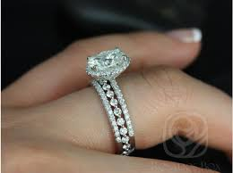 Trio Wedding Ring Sets by Rosados Box Federella 9x7mm U0026 Petite Bubble Breathe Oval F1