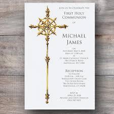 religious invitations gold cross christening communion religious invitations