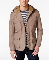barbour men s thurso detachable hood jacket in brown for men lyst