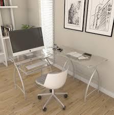 3 piece glass desk stillman l shaped desk in silver