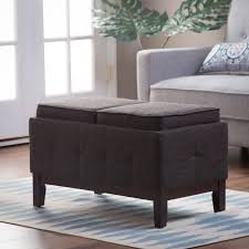 Rolling Ottoman With Storage by Belham Living Corbett Leather And Linen Coffee Table Storage