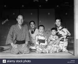 1930s typical japanese family of 4 with servant at home