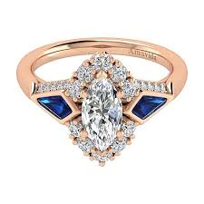 sapphire wedding rings images 18k rose gold marquise halo diamond a quality sapphire engagement jpg