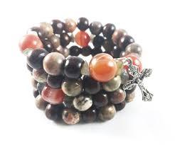 rosary bracelet earth toned and wood wrist rosary bracelet wristrosaries