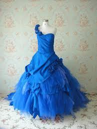 buy cheap satin one shoulder blue asymmetrical ball gown flower