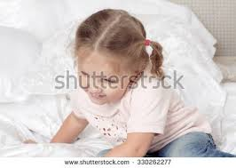 Fun In The Bedroom Sleeping Beautiful Little Long Flowing Stock Photo 111836492