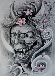 mad grey ink devil face and tender cherry blossom tattoo design