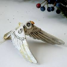 vintage pam schifferl white owl ornament flying signed p s on