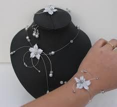 Bracelet Fleur Mariage Ensemble De Bijoux Pour Mariéeparure Mariage Fleur Satin Gris
