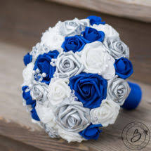 royal blue and silver wedding royal blue and silver wedding bouquet with crystals real touch