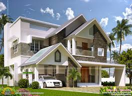 European Style Houses Modern Sloping Roof Mix Villa Exterior Kerala Home Design And
