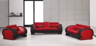 vig furniture contemporary 2811 red and black bonded leather 3 pc