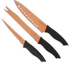 knives kitchen food qvc com copper chef 3 piece nonstick knife set k46429