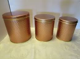 canisters for kitchen counter set 3 canisters kitchen counter lidded stainless steel copper tone