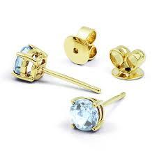 aquamarine earrings 9ct yellow gold solitaire aquamarine earrings diamond