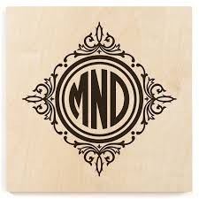 framed monogram wood print