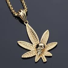 aliexpress buy nyuk new fashion american style gold nyuk new design pendant necklace gold steel hemp leaf skeleton