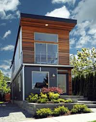 tiny houses cincinnati front view showing depth of the house the roof form and use of