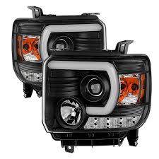 led lights for 2014 gmc sierra spyder black u bar projector led headlights 2014 2015 gmc sierra w