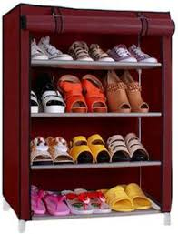 Shoe Rack by Pindia 4 Layer Maroon Design Rack Organizer Polyester Collapsible
