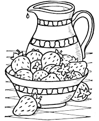 thanksgiving dinner coloring page sheets a bowel of strawberries