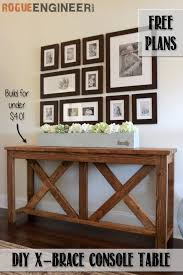 build a console table diy x brace console table free plans rogue engineer