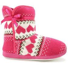 womens boots uk ebay womens knitted fair isle pink cosy slipper boots uk 3