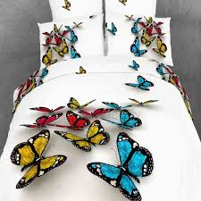 colorful 3d butterfly print with white color duvet cover 4