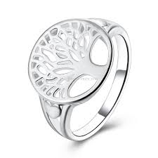 family rings for fashion silver plated tree of ring hollow out family