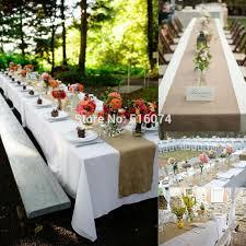 5pcs 30x275cm shabby chic wedding burlap hessian table runner