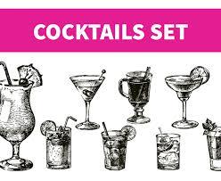 hand drawn sketch cocktails set design cuts
