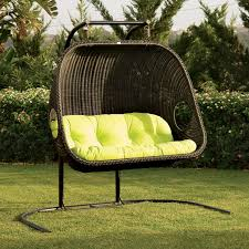 Lounge Swing Chair Cool Frontyard Exterior Design With Black Rattan Hanging Wicker