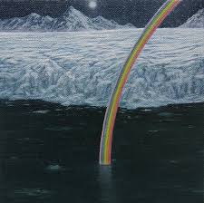 new american paintings adam benjamin fung frozen rainbow full moon over raudfjordbreen oil on linen over panel 6 6 in courtesy of ro2 gallery