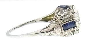 art deco european cut diamonds u0026 sapphires 14k white gold ring