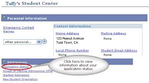 admissions and records checking application status