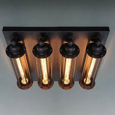 Edison Ceiling Light Retro Vintage Ceiling Light 4 Lights Edison Bulbs Metal Black