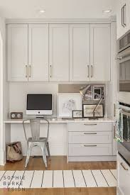 Kitchen Office Furniture Kitchen Office In Gray Cabinets White Quartz Brass Hardware