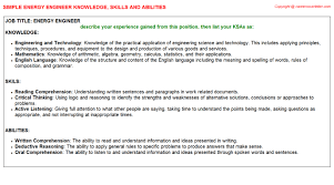 skills and abilities examples for resume energy engineer knowledge u0026 skills
