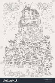 fantasy landscape fairy tale castle on stock vector 473779369