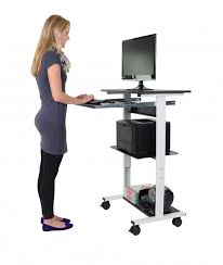 Upright Computer Desk Mobile Standing Computer Workstation With Tray Stand Up Desk Store