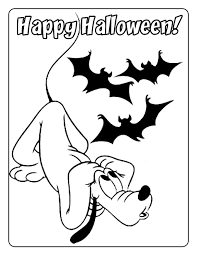 happy halloween coloring pages of disney pluto and bats coloring