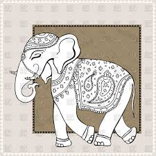 ornamental elephant indian style vector clipart image