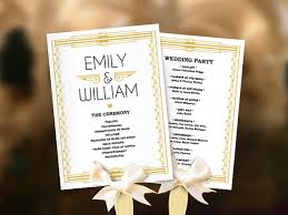 deco wedding program wedding fans great gatsby program template diy roaring